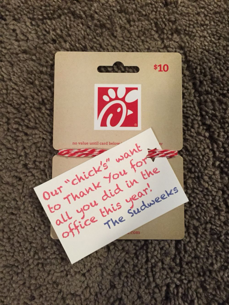 Chick -Fil-A Gift Card | Teachers Gifts | Teacher Appreciation Gifts | Chick Fil A Printable Gift Card