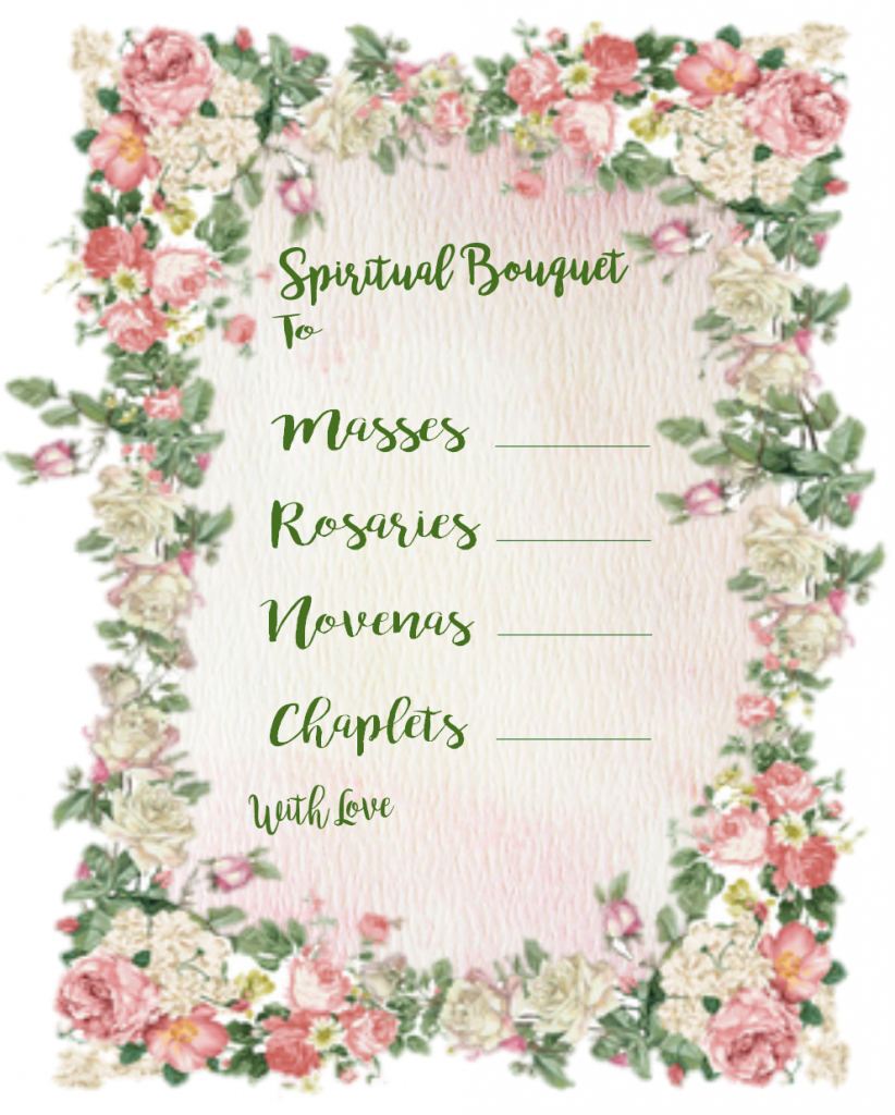 Christian Study Tools: Spiritual Bouquet Gift Card Free Printables | Printable Spiritual Bouquet Cards