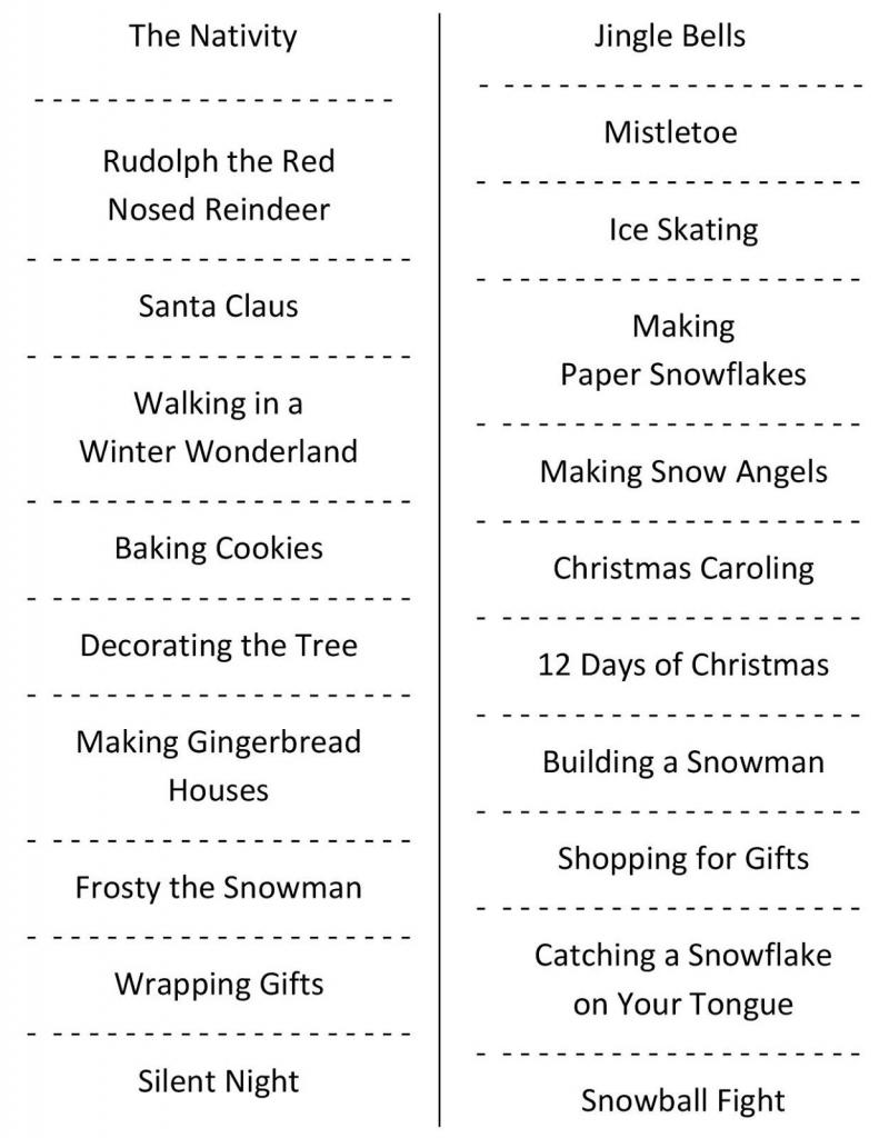 Christmas Charades (Free Printable Party Game) | Christmas | Free | Free Printable Charades Cards