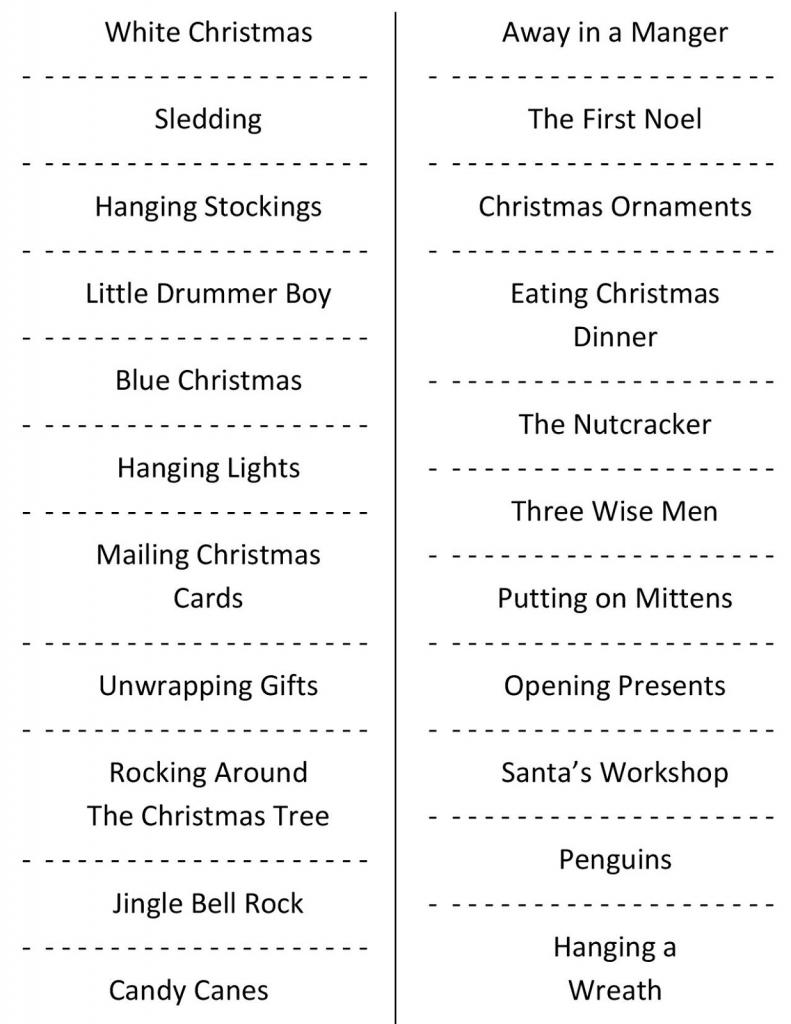 Christmas Charades (Free Printable Party Game) | Free Printable Christmas Charades Cards
