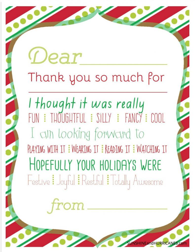 Christmas Printable Thank You Cards For Kids | Printable Thank You Cards For Teachers