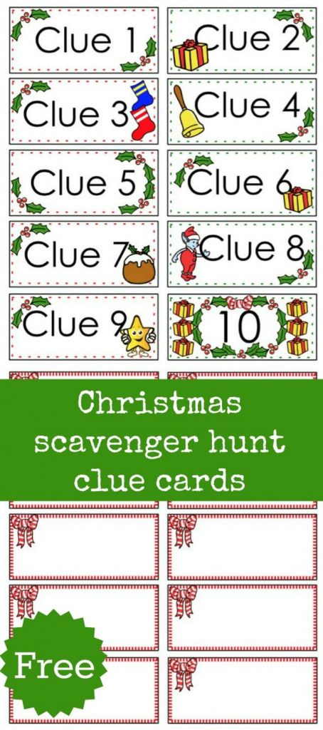 Christmas Scavenger Hunt Free Printable Clue Cards For Kids | Treasure Hunt Printable Clue Cards