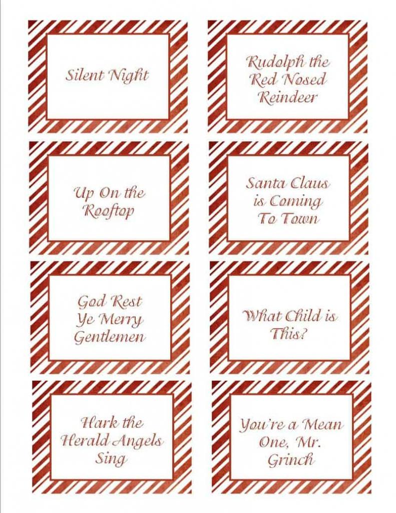 Christmas Songs Pictionary- Free Christmas Game | Free Printable Christmas Pictionary Cards