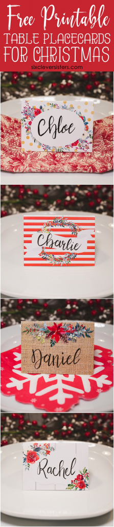 Christmas Table Place Cards { Free Printable} - Six Clever Sisters | Christmas Table Name Cards Free Printable