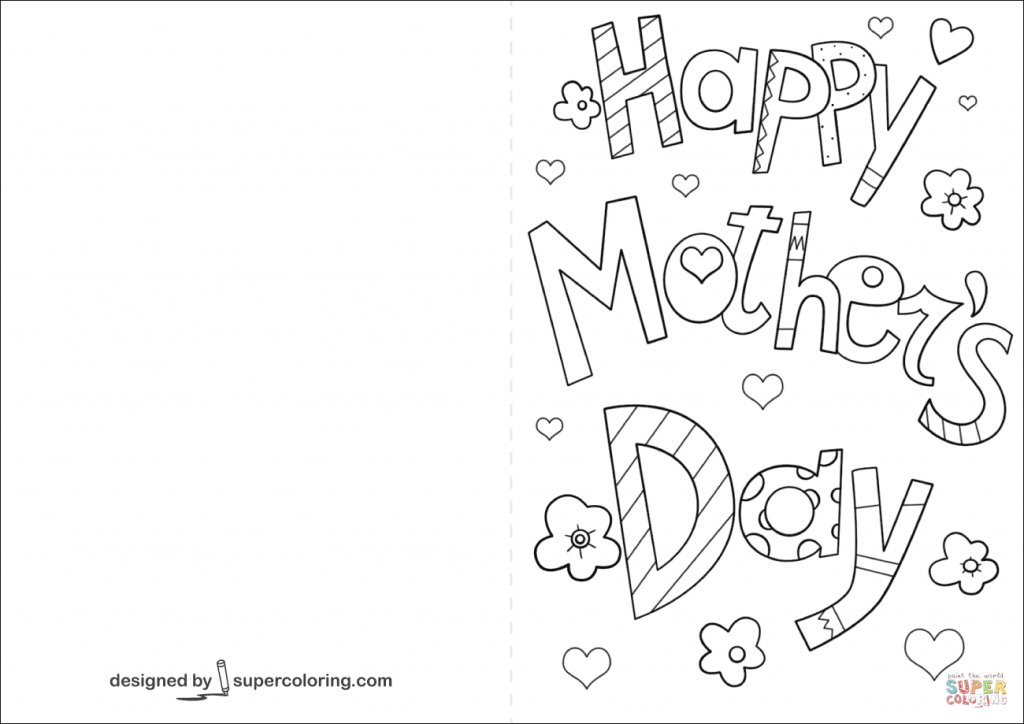 Coloring Pages ~ Free Printable Mothersay Card Cards Coloring For | Printable Mothers Day Cards For Kids To Color
