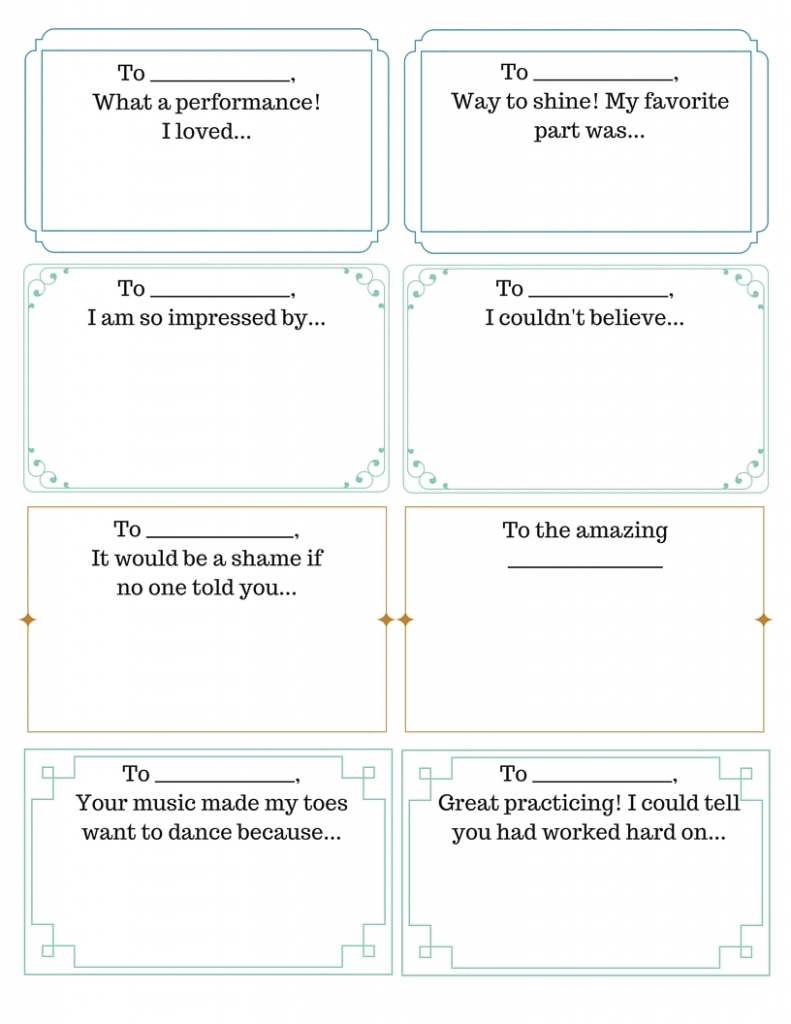 Compliment Exchange - 4Dpianoteaching | Printable Compliment Cards For Students