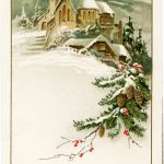 Country Church Scene~ Free Christmas Graphic   Old Design Shop Blog | Free Printable German Christmas Cards