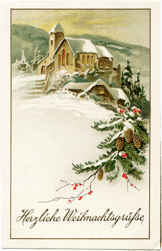 Country Church Scene~ Free Christmas Graphic - Old Design Shop Blog | Free Printable German Christmas Cards