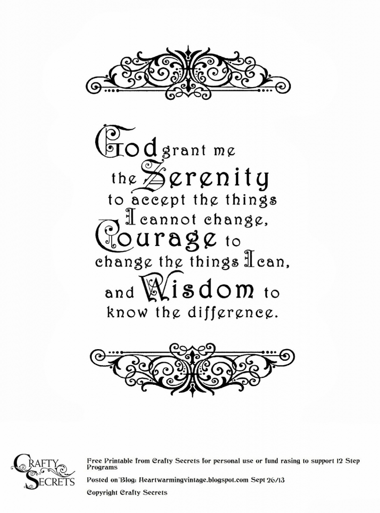 Crafty Secrets Heartwarming Vintage Ideas And Tips: Free Serenity | Printable Serenity Prayer Cards