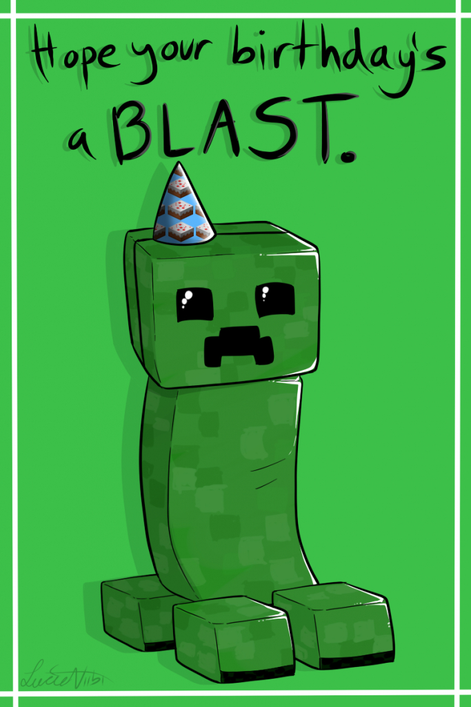 Creeper Birthday Cardlucieniibi.deviantart On @deviantart | Minecraft Birthday Card Printable