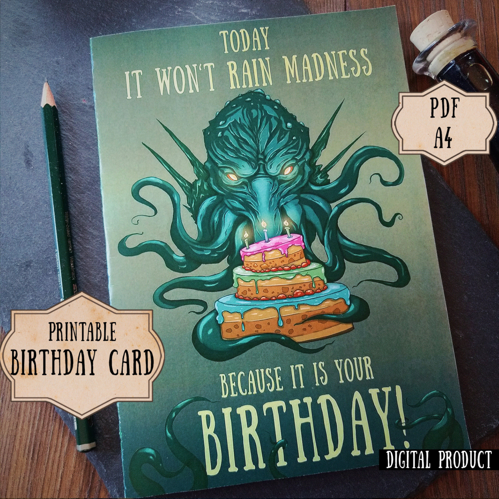 Cthulhu Birthday Card Lovecraft Birthday Card Nerdy Birthday | Etsy | Nerdy Birthday Cards Printable