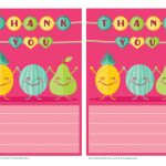 Cute Fruit Printable Thank You Note Paper For Kids   Free Printable | Cute Printable Thank You Cards