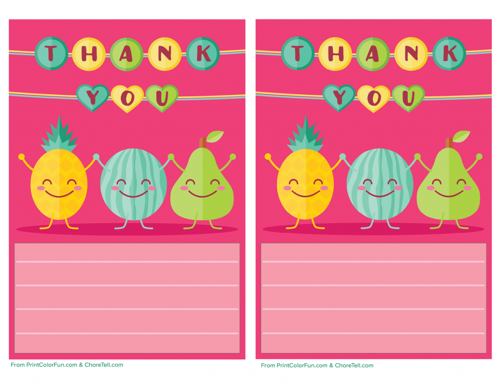 Cute Fruit Printable Thank You Note Paper For Kids - Free Printable | Cute Printable Thank You Cards