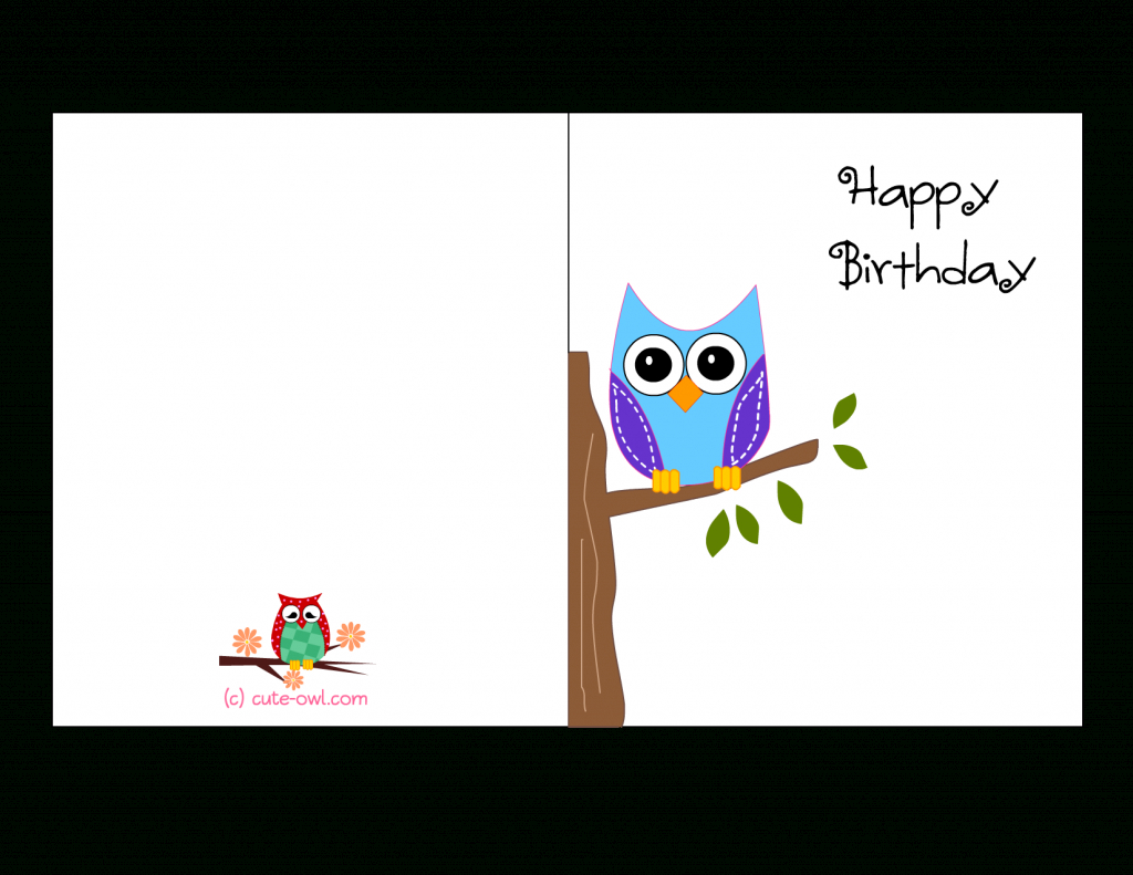 Cute Owl Sitting On A Branch Happy Birthday Card | Favorite | Happy Birthday Card Printable