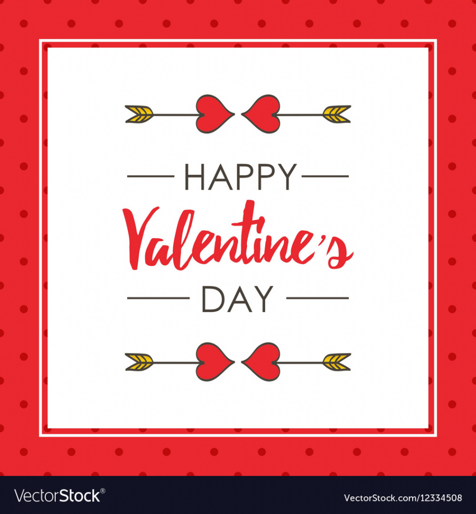 Cute Valentines Day Card Template Royalty Free Vector Image | Valentine's Day Card Printable Templates