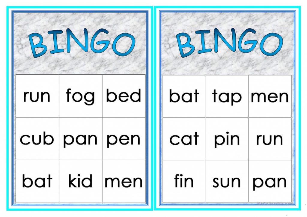 Cvc Words Bingo Worksheet - Free Esl Printable Worksheets Made | Printable Cvc Word Cards
