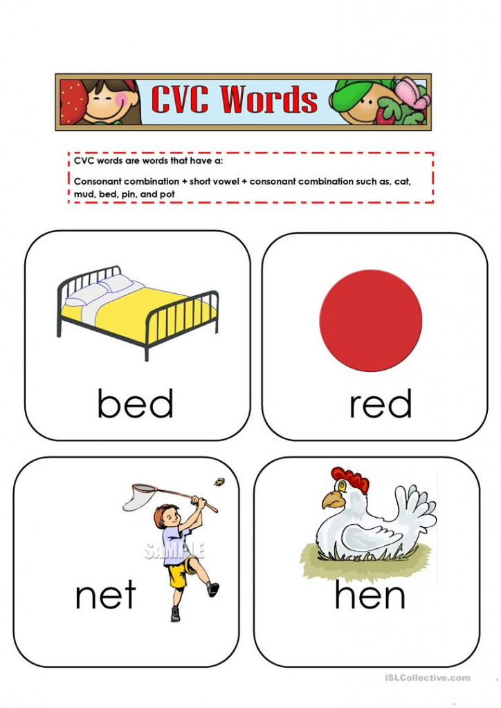 Cvc Words Flashcards Worksheet - Free Esl Printable Worksheets Made | Cvc Picture Cards Printable
