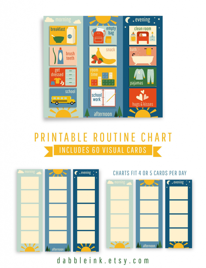 Daily Routine Chart I 60 Cards I Toddler Visual Routine I | Etsy | Printable Routine Cards For Toddlers