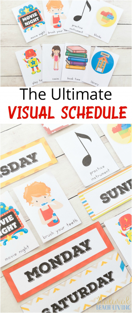 Daily Visual Schedule For Kids Free Printable - Natural Beach Living | Free Printable Schedule Cards For Preschool