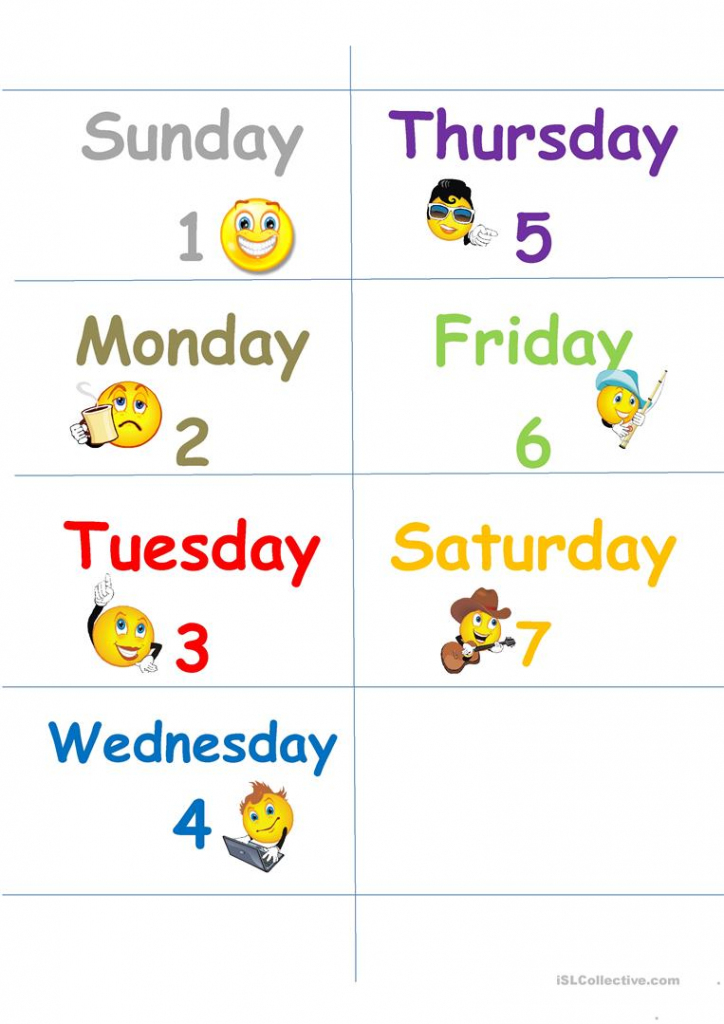 Days Of The Week Flash Cards Worksheet - Free Esl Printable | Free Printable Days Of The Week Cards
