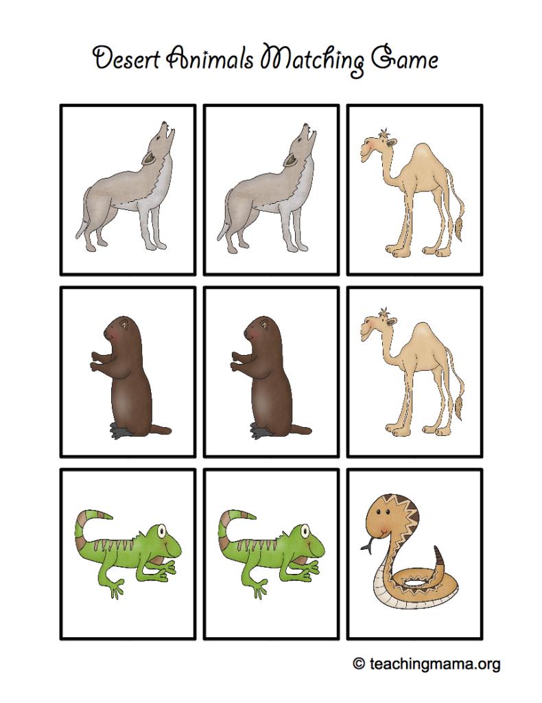 Desert Animal Printables - Teaching Mama | Animal Matching Cards Printable