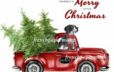 Digital Christmas Dog, Doggie Xmas, Red Pickup Truck, Pillow Image | Christmas Cards For Dogs Printable