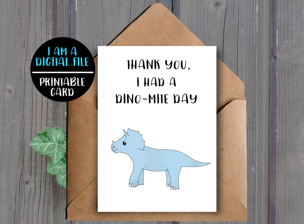 Digital Download Printable Dinosaur Thank You Card | Etsy | Dinosaur Thank You Cards Printable