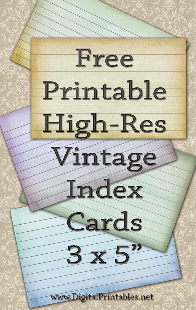 Digital Printables: Free Printable Index Cards Vintage Look High Res | Printable Index Cards 3X5