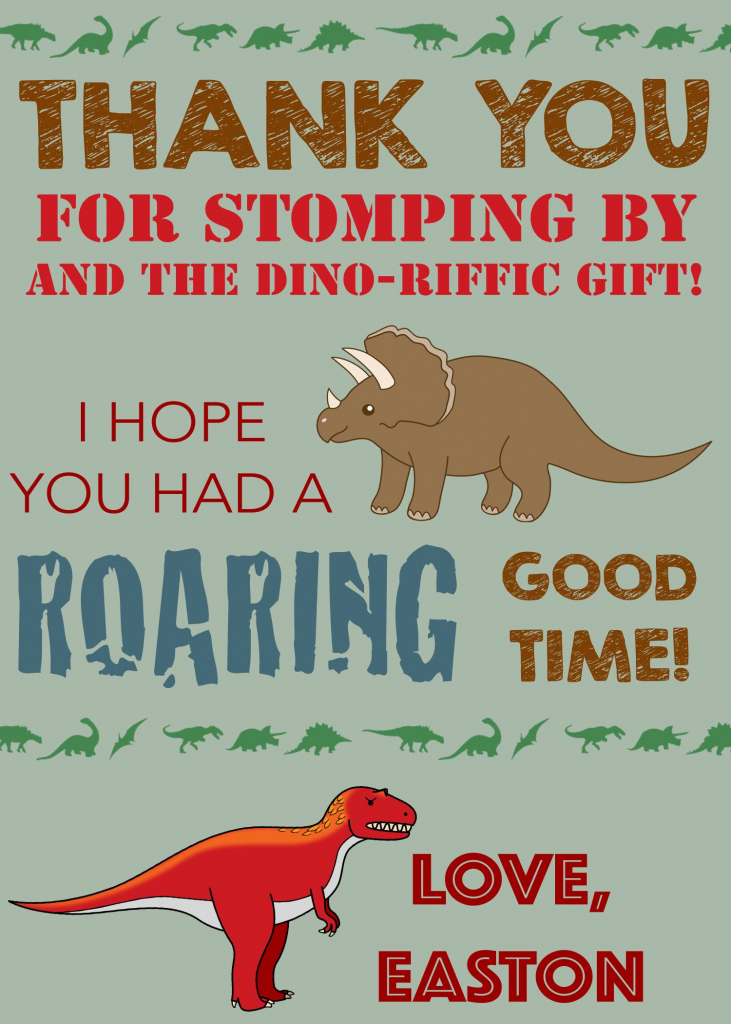 Dinosaur Thank You Card, Dinosaur Thank You Note, Dinosaur Birthday | Dinosaur Thank You Cards Printable