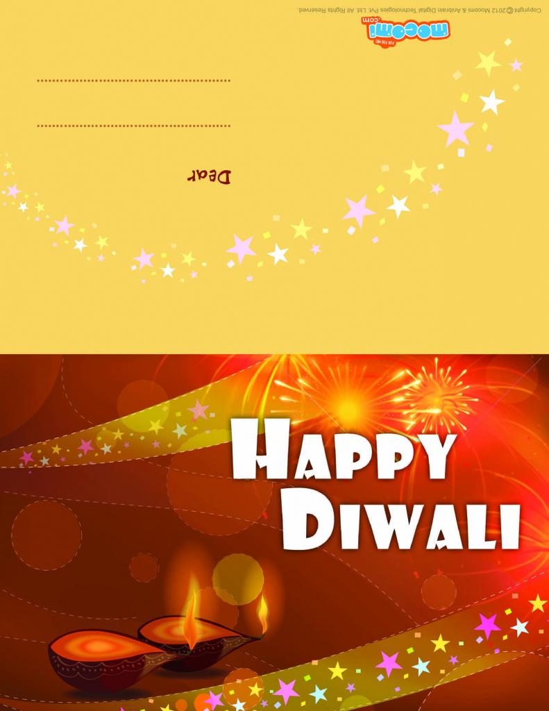 Diwali Diyas - Diwali Greeting Card For Kids | Mocomi | Printable Diwali Greeting Cards