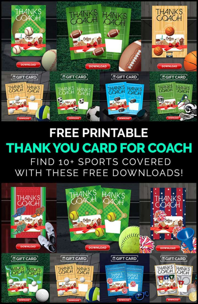Diy Coach Gifts: Printable Thank You Card For Coach | Free Printable Soccer Thank You Cards