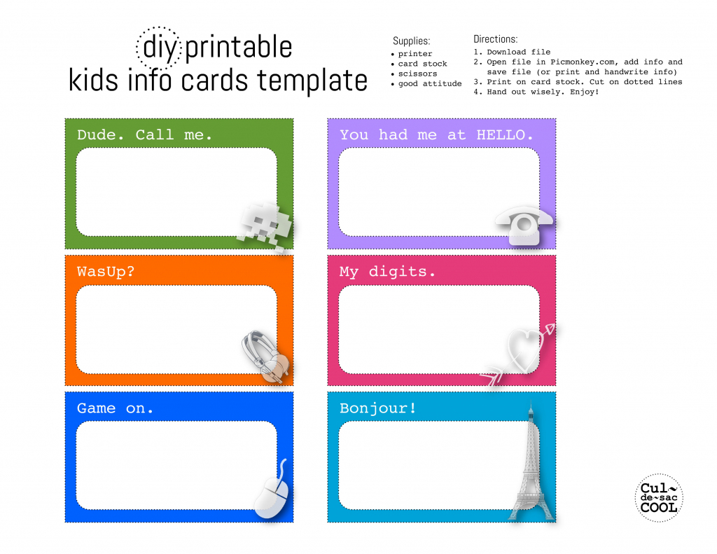 Diy Printable Kids Info Cards Template | Printable Emergency Card Template