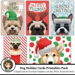 Dog Christmas Printable Cards Set Of 5 Printable Envelope | Etsy | Christmas Cards For Dogs Printable