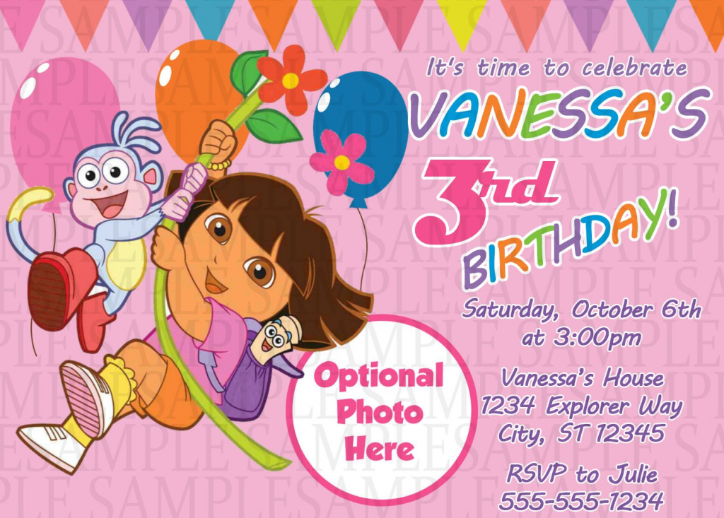 Dora The Explorer Birthday Invitation $11 | Kids Birthday | Dora Birthday Cards Free Printable