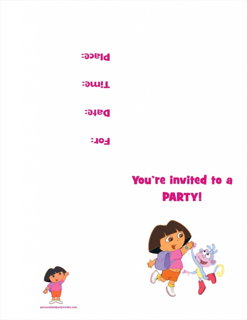 Dora The Explorer Free Printable Birthday Party Invitation | Dora Birthday Cards Free Printable