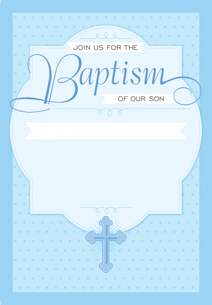 Dotted Blue - Free Printable Baptism & Christening Invitation | Printable Baptism Christening Cards