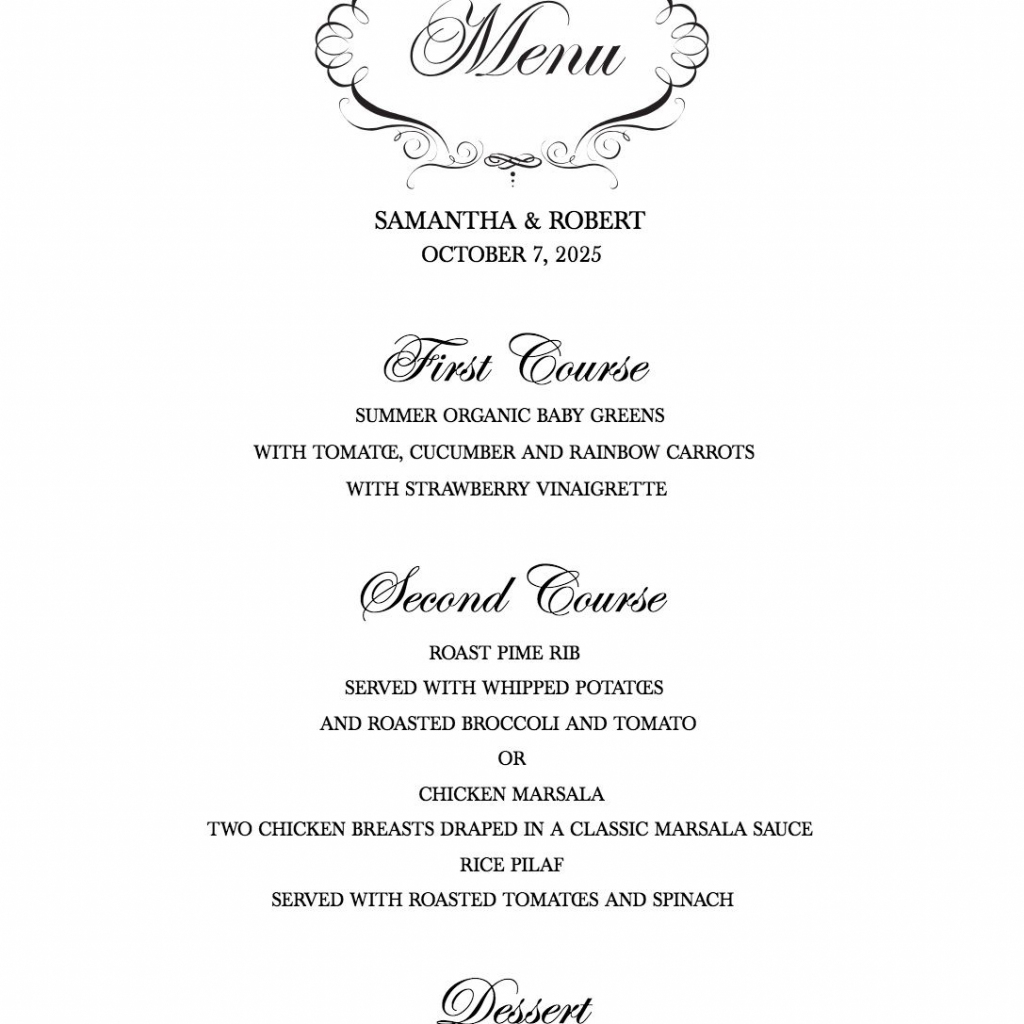 Download A Free Wedding Menu Template | Free Printable Wedding Menu Card Templates