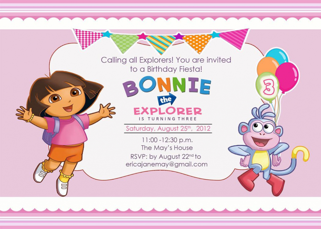 Download Free Template Dora The Explorer Birthday Party Invitations | Dora Birthday Cards Free Printable