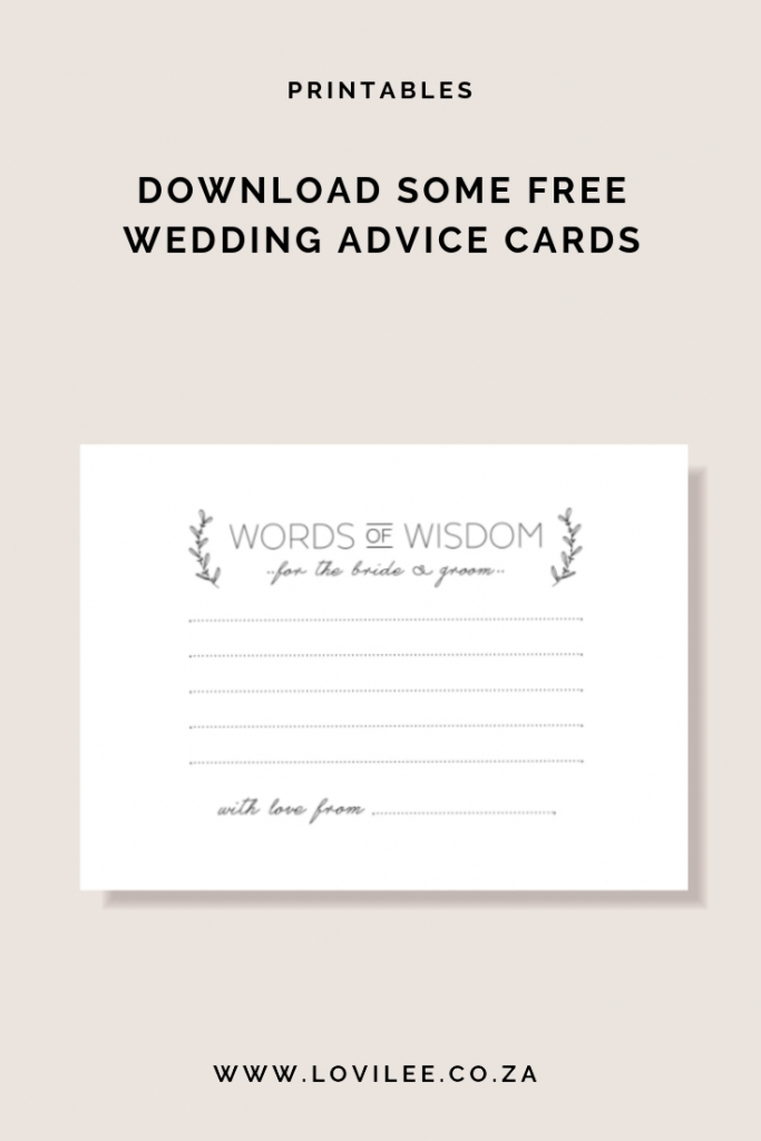 Download Your Free Wedding Advice Cards Printable | Lovilee Blog | Printable Newlywed Game Cards