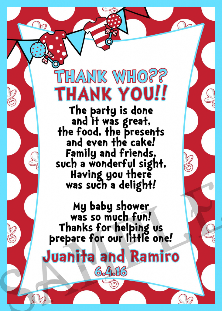 Dr. Seuss Thank You Card | Kids In 2019 | Second Baby Showers, Dr | Printable Dr Seuss Thank You Cards