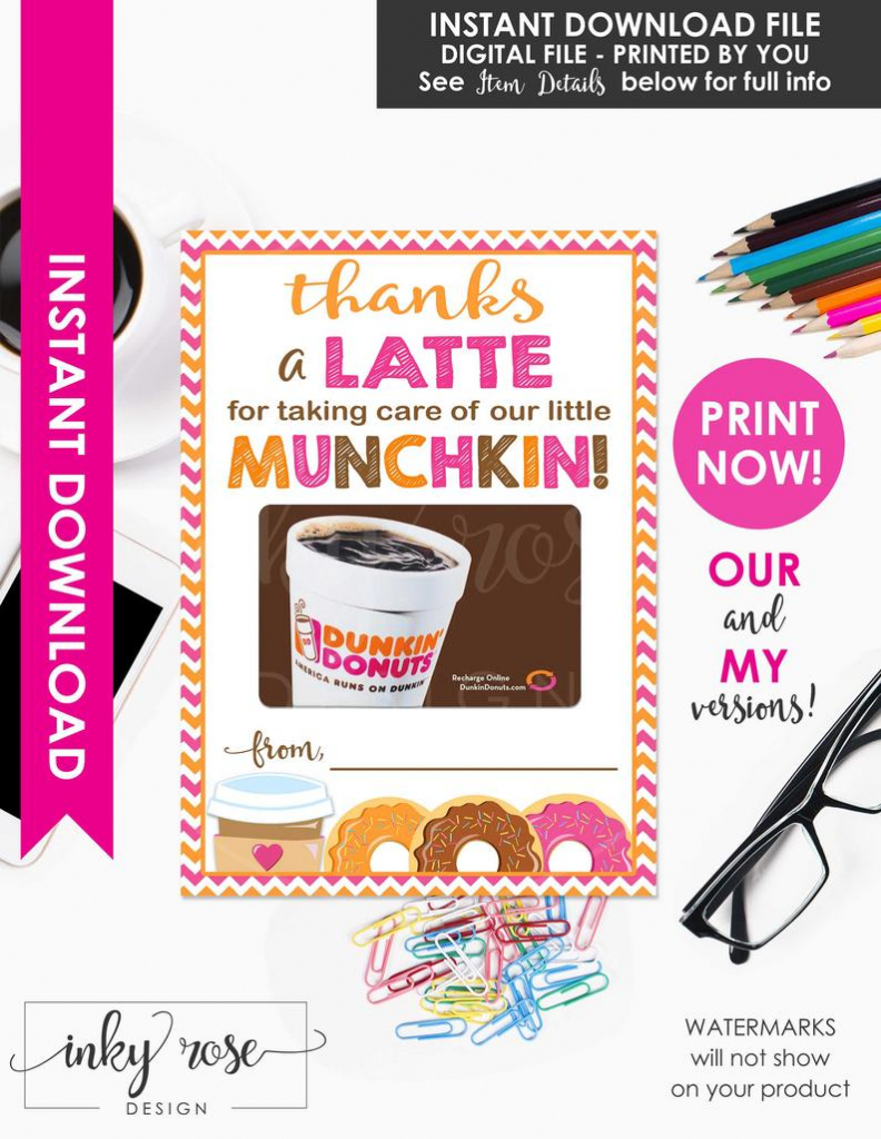Dunkin Donuts Teacher Appreciation Gift Card Holder Printable | Etsy | Teacher Appreciation Gift Card Holder Printable
