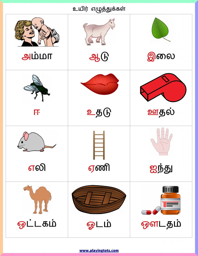 உயிர் எழுத்துக்கள் - Chart Keywords: Tamil ,free | Printable Tagalog Alphabet Flash Cards