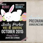 Easter Pregnancy Announcement Printable Card Sign Bunny | Etsy | Free Printable Pregnancy Announcement Cards
