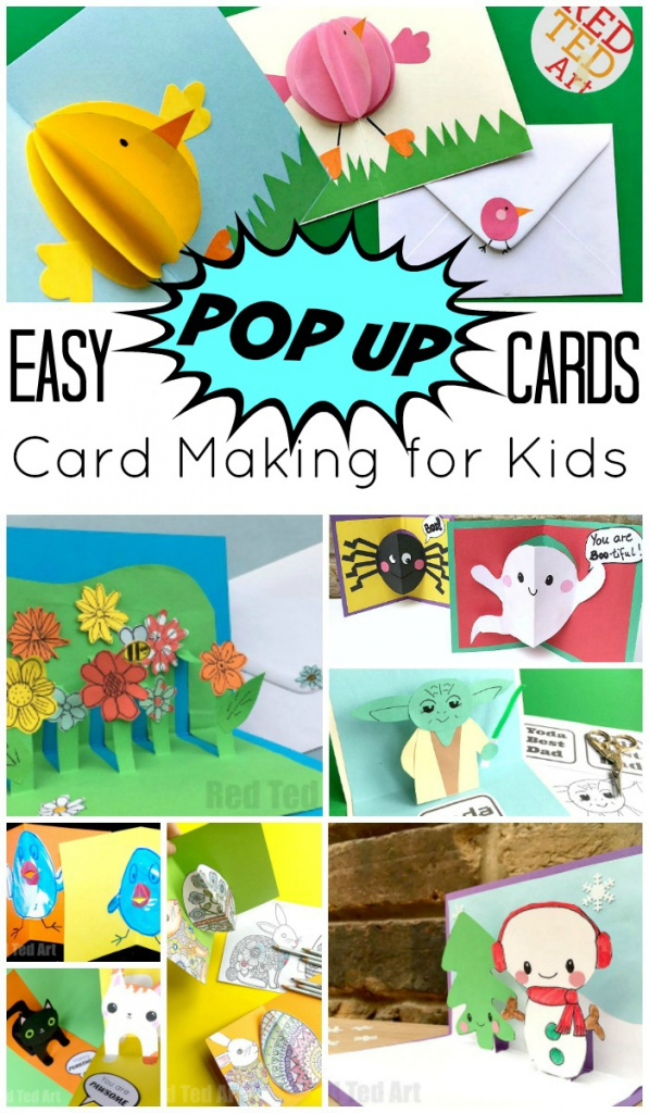 Easy Pop Up Card How To Projects - Red Ted Art | Free Printable Funny Thinking Of You Cards