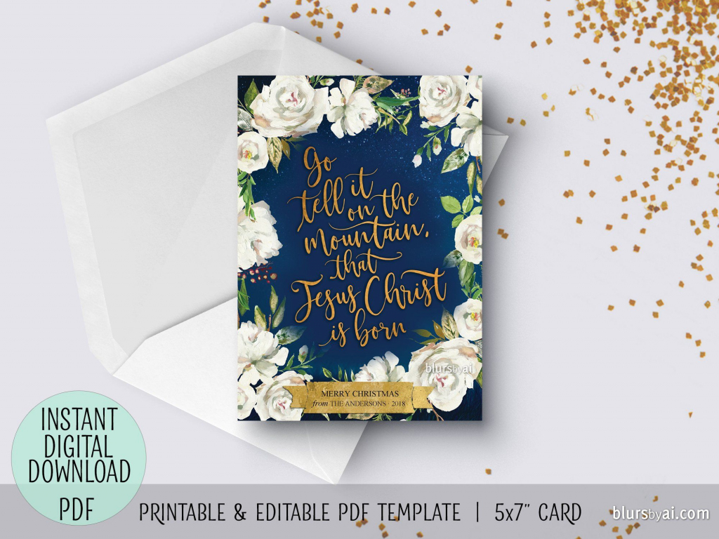 Editable Pdf Christmas Card Template: Go Tell It On The Mountain In | Blue Mountain Printable Christmas Cards