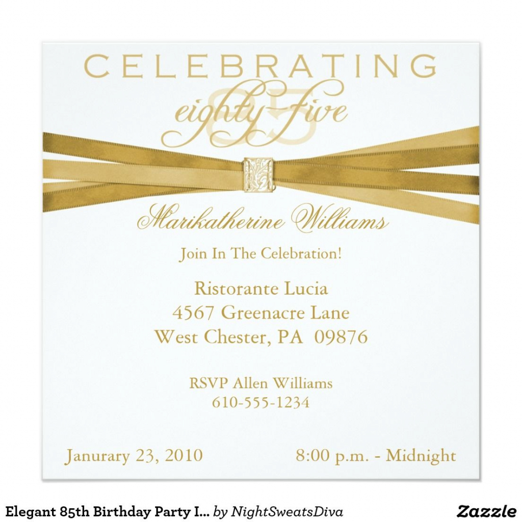 Elegant 85Th Birthday Party Invitations | Zazzle | Party Ideas | 75Th Birthday Invitation Cards Printable