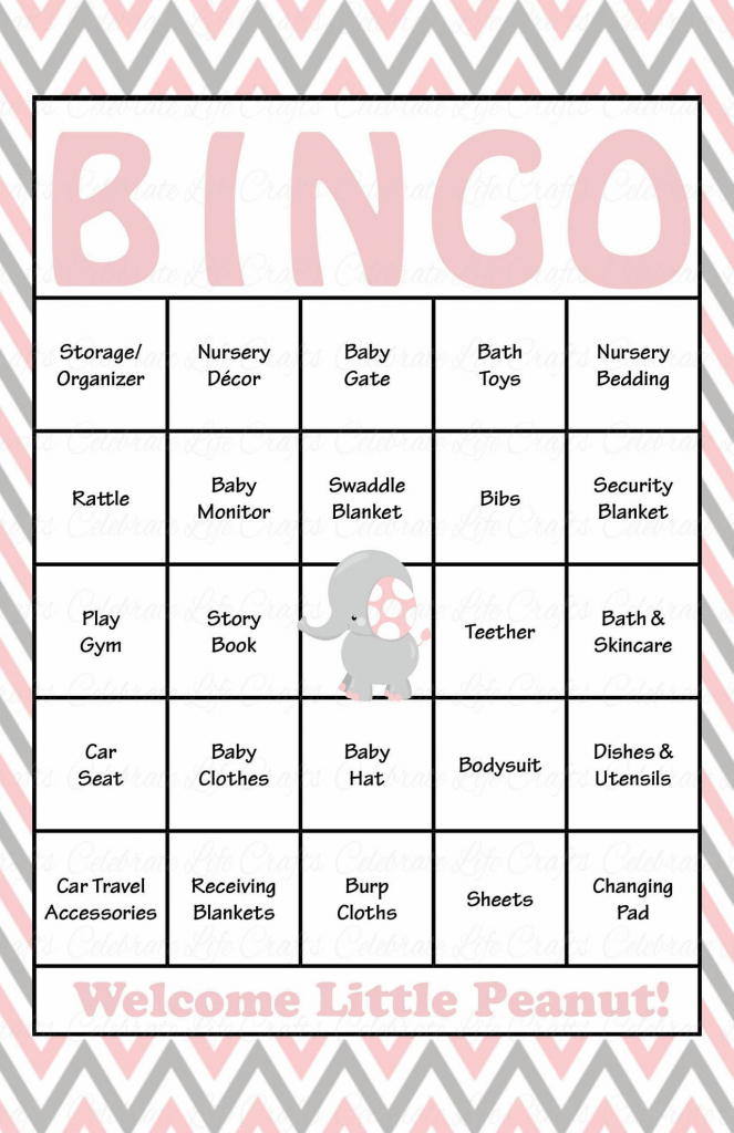 Elephant Baby Shower - Baby Bingo Cards - Printable Download - Baby | 50 Free Printable Baby Bingo Cards