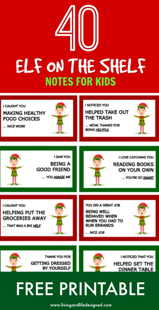 Elf On The Shelf Printable Notecards With A Positive Message | Printable Elf On The Shelf Note Cards