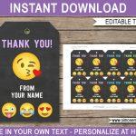 Emoji Party Favor Tags Template   Emoji Theme Thank You Tags   Printable Emoji Thank You Cards