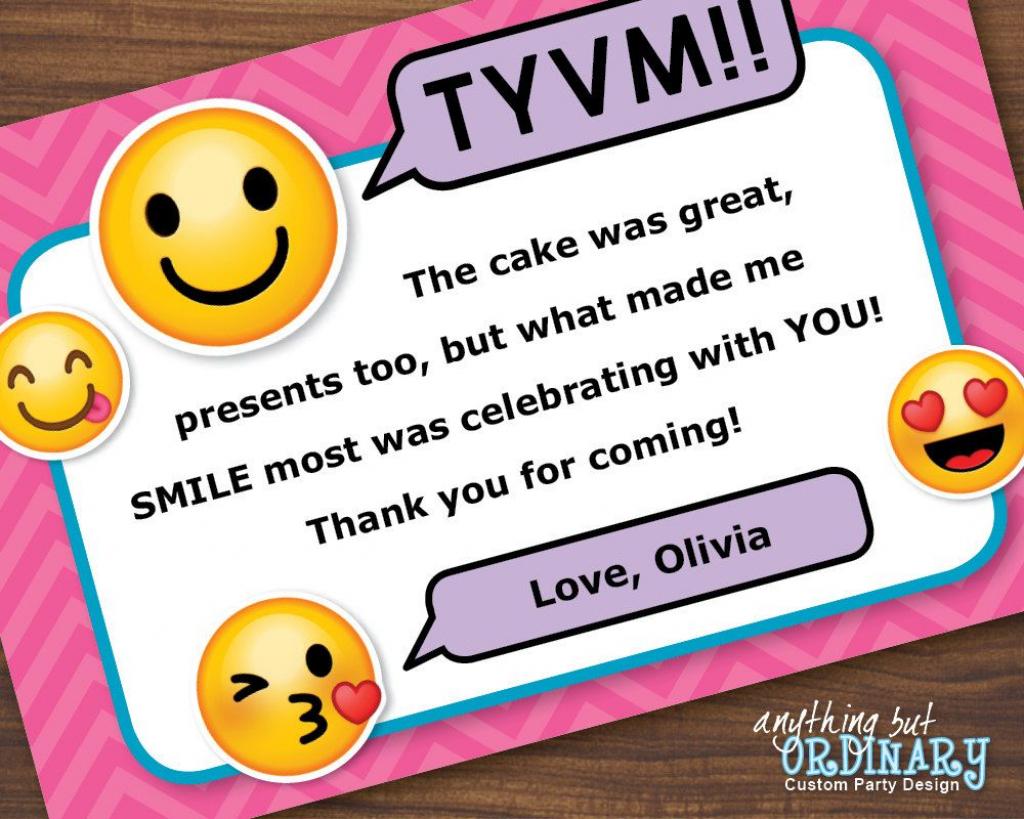 Emoji Thank You Note, Printable Girl's Emoji Flat Thank You Card | Printable Emoji Thank You Cards